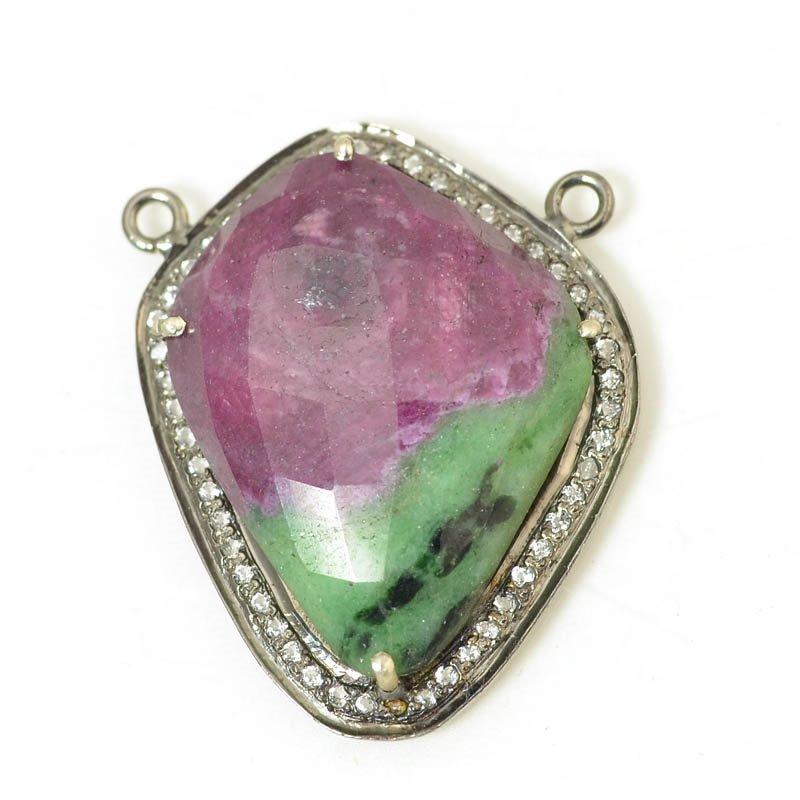 s56405 Stone Pendant - OOAK - Freeform Pendant - Ruby Zoisite