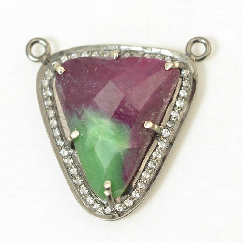 s56406 Stone Pendant - OOAK - Triangle Pendant - Ruby Zoisite