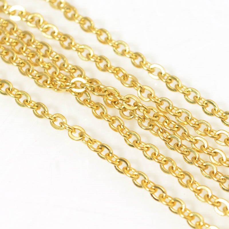 s56420 Chain - 2.4 x 2.8 mm Oval Link Chain - Gold Plated (over Stainless Steel)
