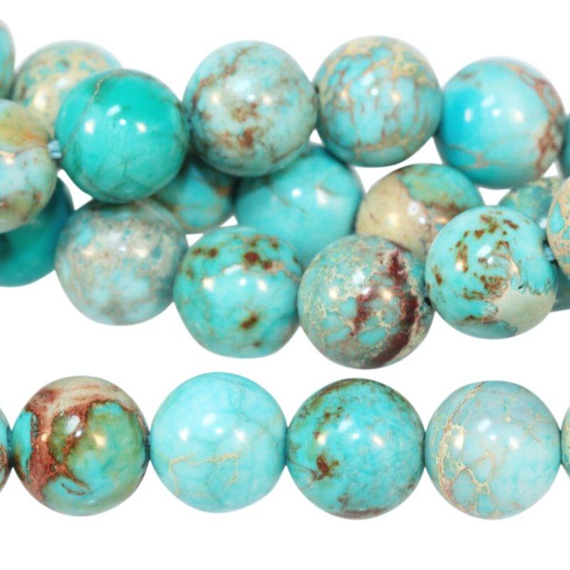 s56454 Stone Beads - 8 mm Round - Aqua Impression Jasper (Dyed) (strand)