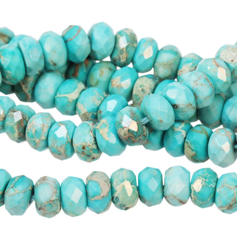 s56456 Stone Beads - 8 mm Faceted Rondelles - Aqua Impression Jasper (Dyed) (strand)
