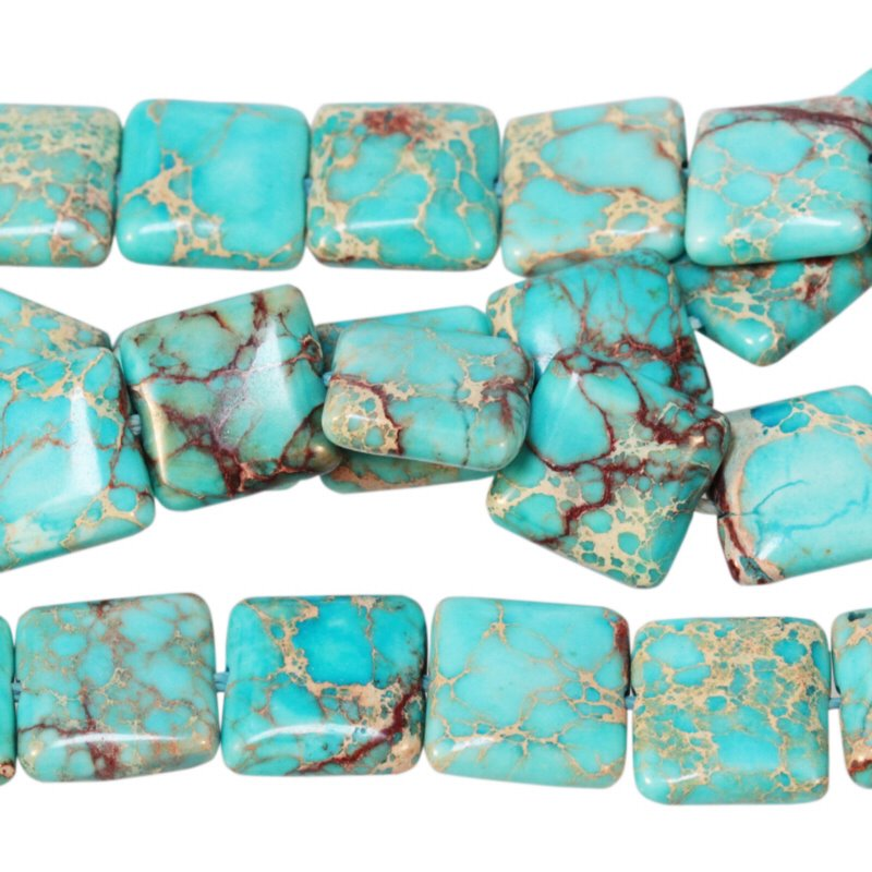 s56457 Stone Beads - 12 mm Square - Aqua Impression Jasper (Dyed) (strand)