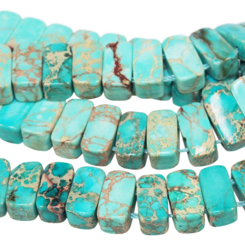 s56458 Stone Beads - 5 x 10 mm Double Drilled Rectangle - Aqua Impression Jasper (Dyed) (strand)