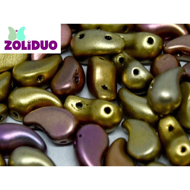 s56569 Czech Shaped Beads - 2 Hole Zoliduo - RIGHT - Metallic Mix