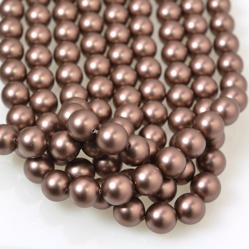s56594 Swarovski Pearl - 8 mm Round Pearl (5810) - Velvet Brown Pearl (strand 25)