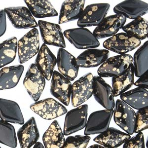 s56600 Czech Shaped Beads - 2 Hole Matubo GemDuo - Gold Splash Jet