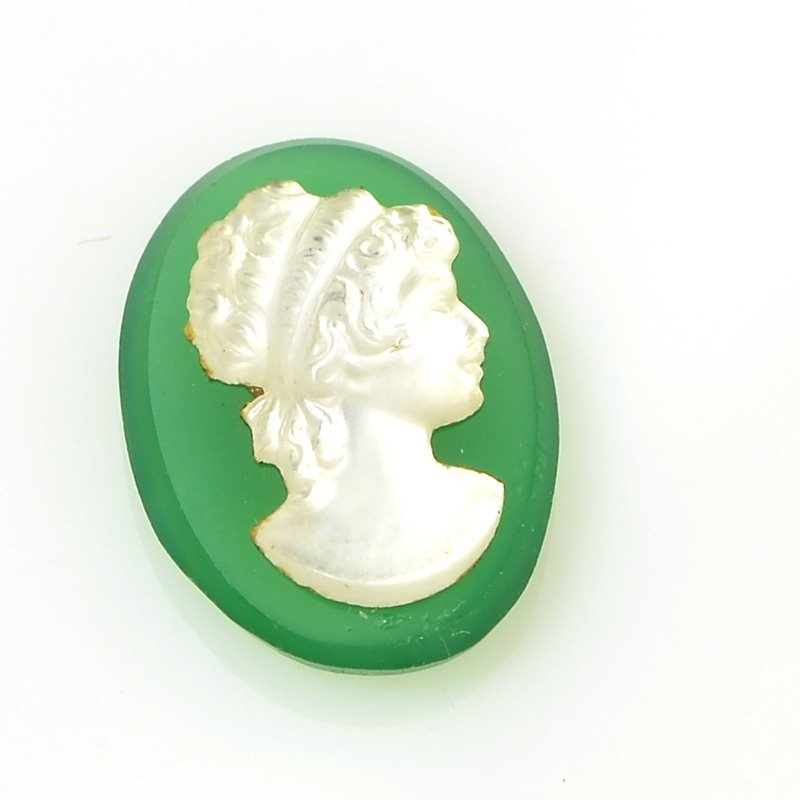 s56627 Glass Cameo Cabochon - 8 x 13 mm Grecian Lady/Oval - Green/MOP