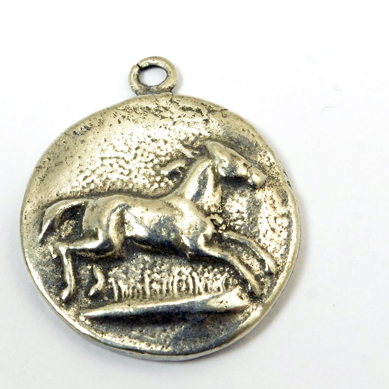 s57140 Charm/Pendant - Jumping Horse - Antiqued Silver