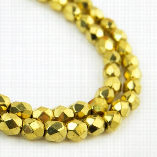 s57183 Firepolish - 4 mm Faceted Round - Bright Gold Plated (Strand)