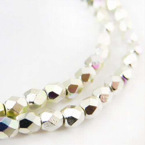 s57184 Firepolish - 4 mm Faceted Round - Silver Plated AB (Strand)