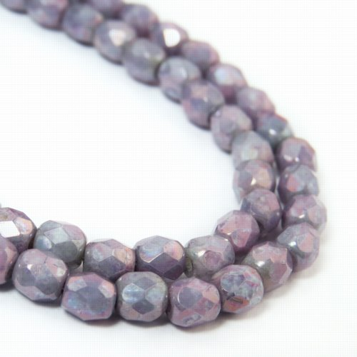 s57186 Firepolish - 4 mm Faceted Round - Chalk Nebula (Strand)