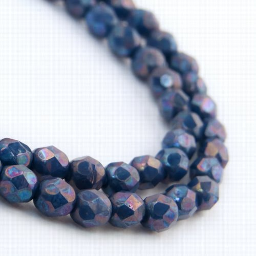 s57187 Firepolish - 4 mm Faceted Round - Blue Turquoise Nebula (Strand)