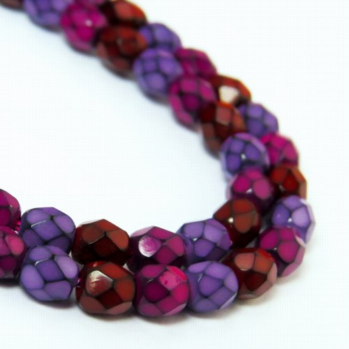 s57190 Firepolish - 4 mm Faceted Round - Snake Berry (Strand)