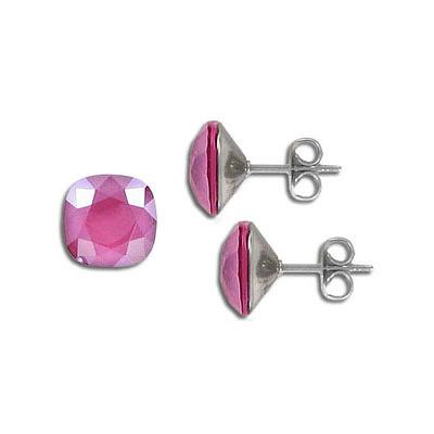 s57210 Earring - Studs - Swarovski Square - Crystal Peony Pink (Pair)