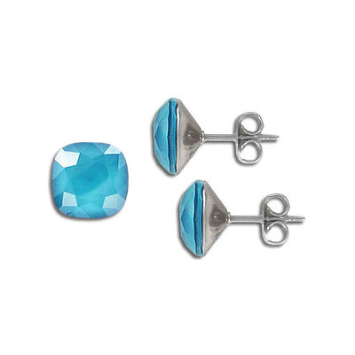 s57211 Earring - Studs - Swarovski Square - Crystal Azure Blue (Pair)