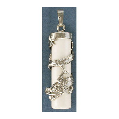 s57223 Stone Pendant - Wrapped Dragon - White Howlite