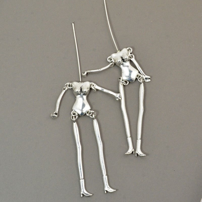 s57225 Metal Pendant - Jointed Body Armature - Bright Silver