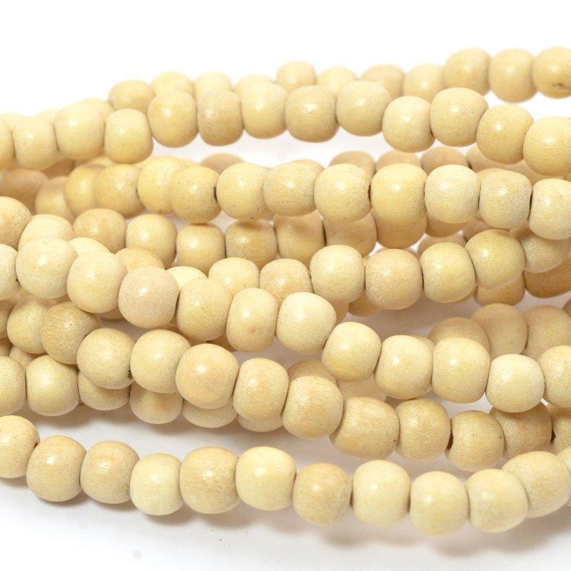 s57249 Wood Beads - 6 mm Round - Natural (strand)