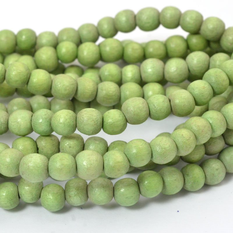 s57250 Wood Beads - 6 mm Round - Light Olive (strand)