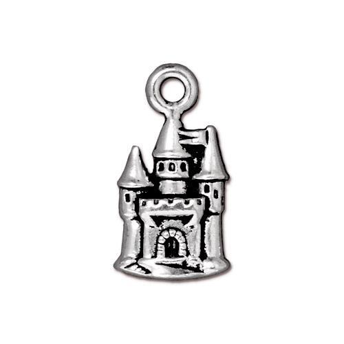 s57273 Metal Charm/Drop - Fairy Tale Castle - Antiqued Silver