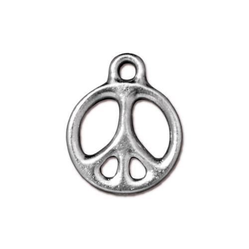 s57274 Metal Charm/Drop - 60s Peace Symbol - Bright Rhodium