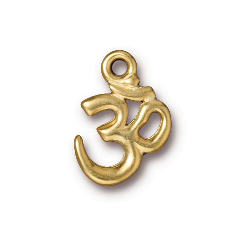 s57275 Metal Charm/Drop - Om Symbol - Bright Gold Plated