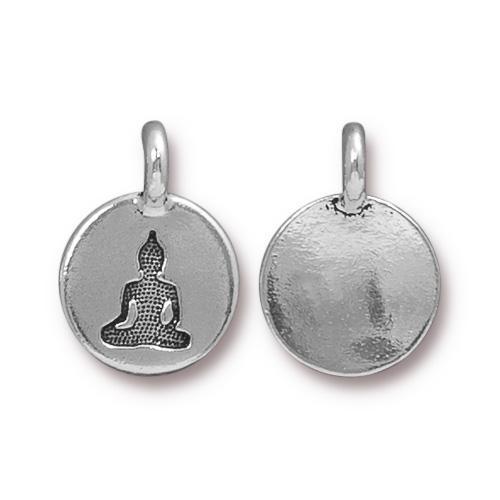 s57279 Metal Charm/Drop - Buddha - Antiqued Silver