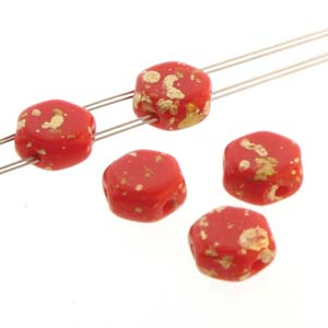 s57355 Czech Shaped Beads - 2 Hole Honeycombs - Red Gold Splash (Strand of 30)