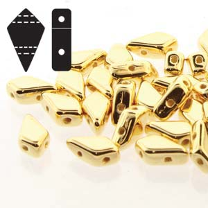 s57356 Czech Shaped Beads - 2 Hole Kite Beads - 24 K Gold Plated (5 grams)