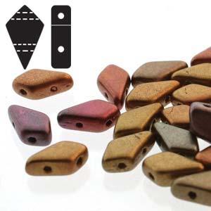 s57357 Czech Shaped Beads - 2 Hole Kite Beads - Violet Rainbow