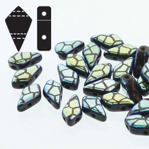 s57367 Czech Shaped Beads - 2 Hole Kite Beads - Laser Etched - Jet Crazed
