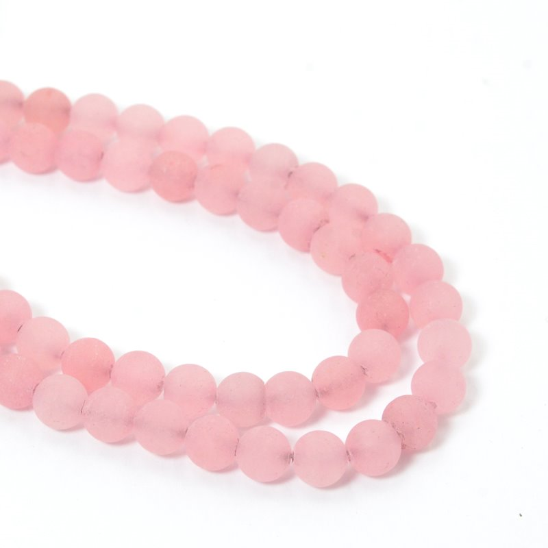 s57395 Frosted Glass - 6 mm Round Beads - Light Wild Rose (strand)