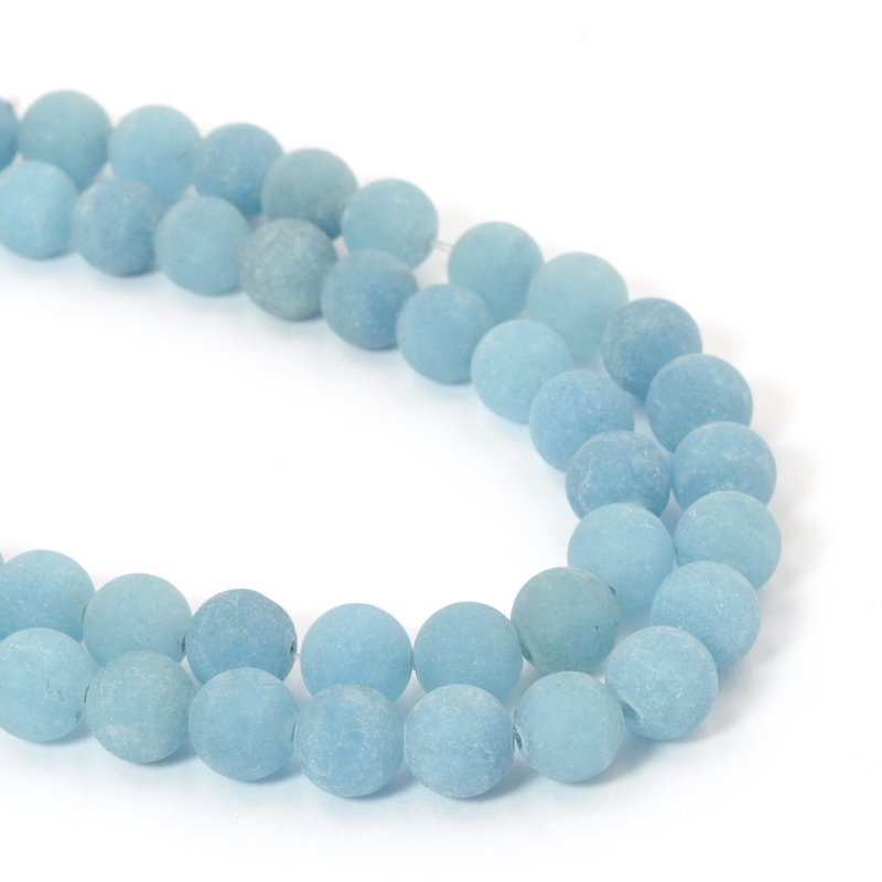 s57416 Frosted Glass - 8 mm Round Beads - Misty Mountain (strand)