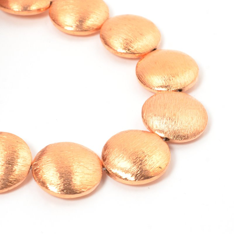 s57437 Metal Beads - 20 mm Puff Lentils - Brushed Copper (strand)