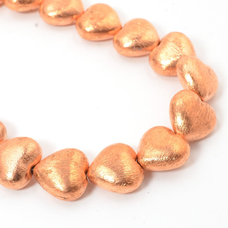 s57442 Metal Beads - 16 mm Puff Hearts - Brushed Copper (strand)