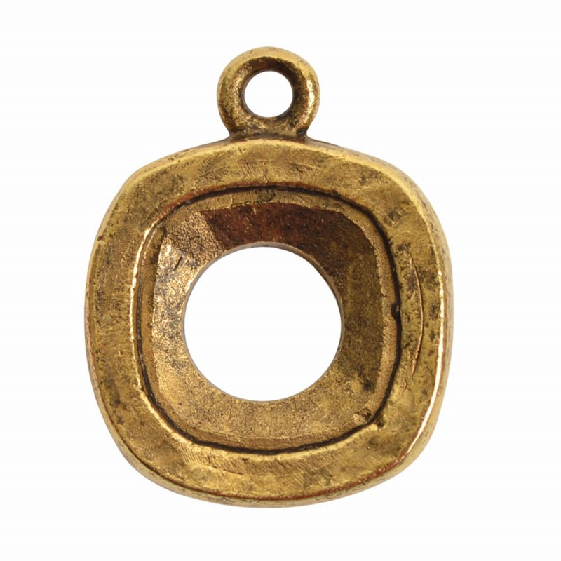 s57484 Finding - Bezel for 12 mm Square Cushion Cut - Antique Gold