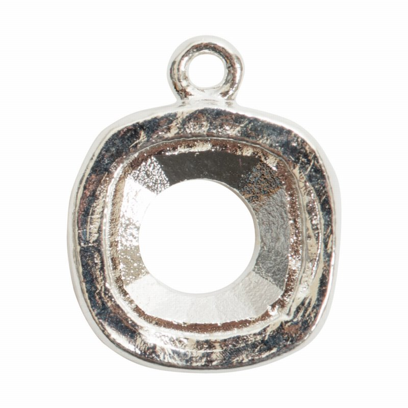 s57485 Finding - Bezel for 12 mm Square Cushion Cut - Bright Silver