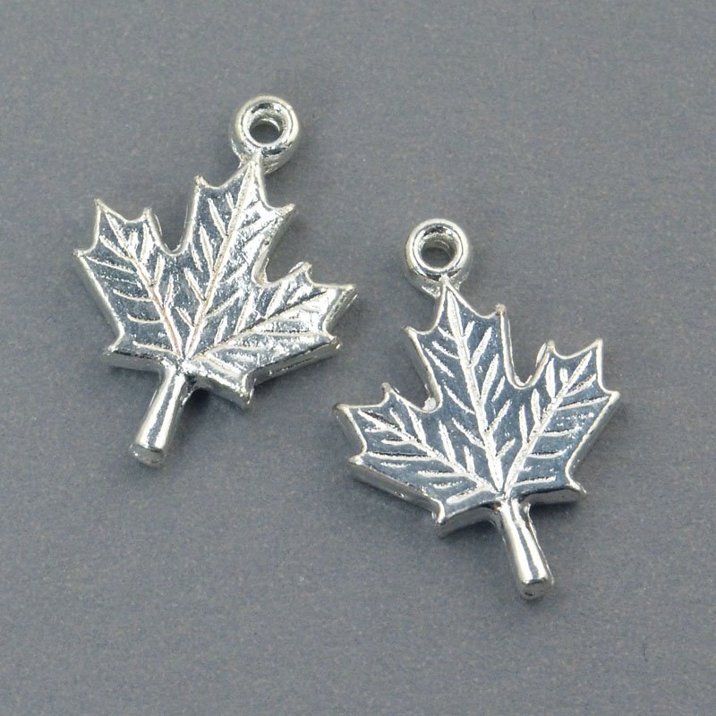 s57628 Metal Charm/Drop - Maple Leaf - Bright Silver