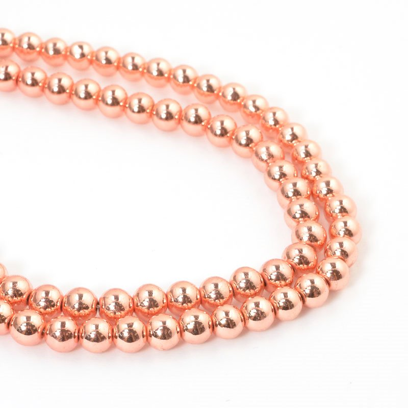 s57634 Stone Beads - 6 mm Round - Rose Gold Metallic Hematite (strand)