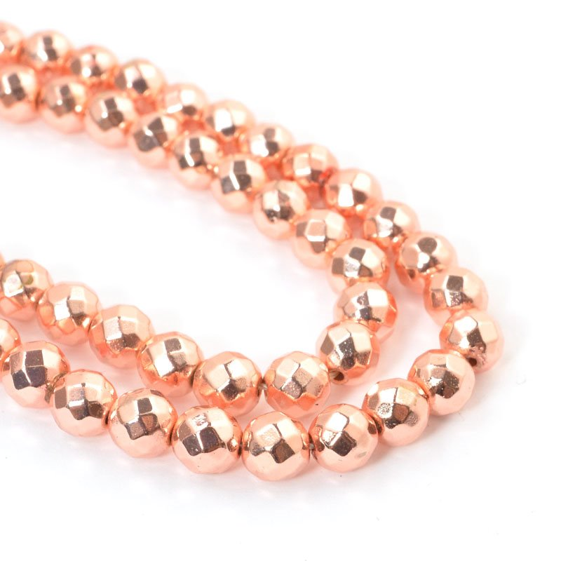 s57635 Stone Beads - 6 mm Faceted Round - Rose Gold Metallic Hematite (strand)