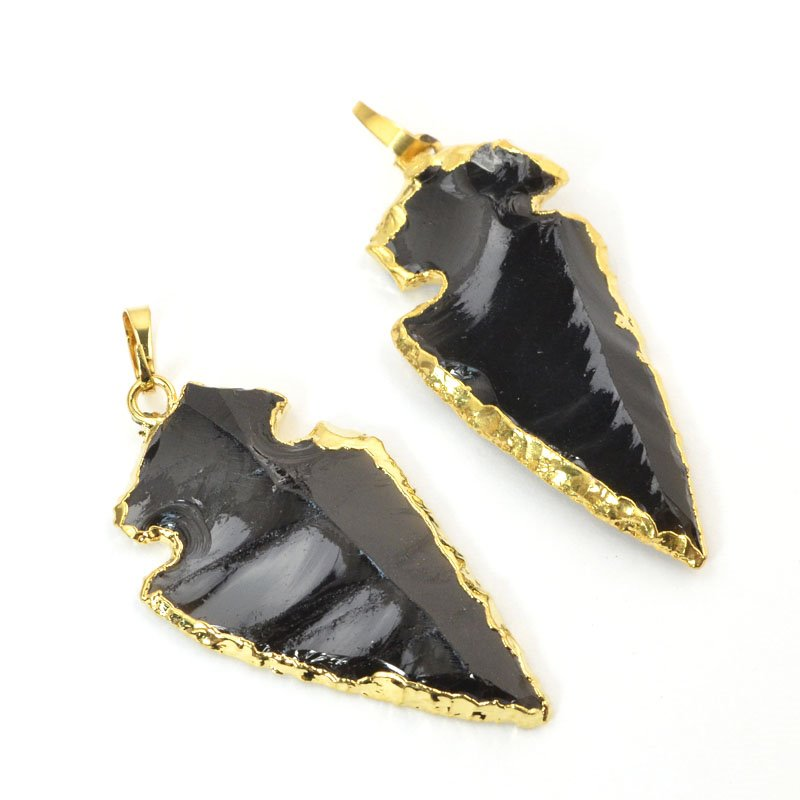 s57638 Stone Pendant - Arrow Head - Obsidian (strand)