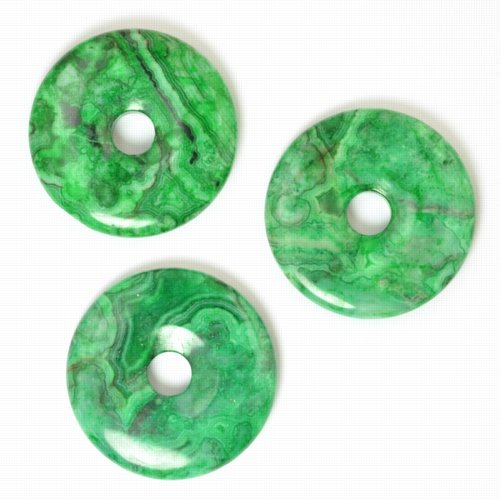 s57767 Stone - 40 mm Donut Pendant - Green Crazy Lace Agate
