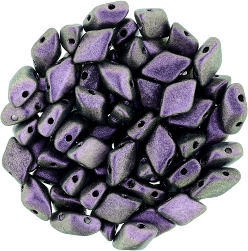 s58284 Czech Shaped Beads - 2 Hole Matubo GemDuo - Polychrome Black Raspberry