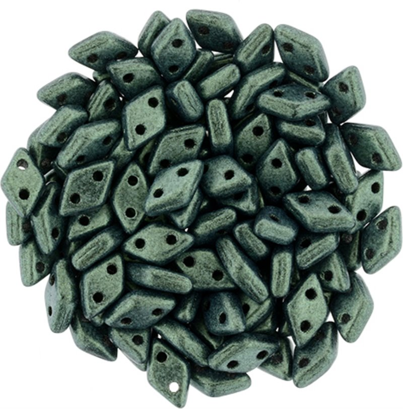 s58291 Glass Beads - Czechmates - 2 Hole Diamonds - Metallic Suede Light Green