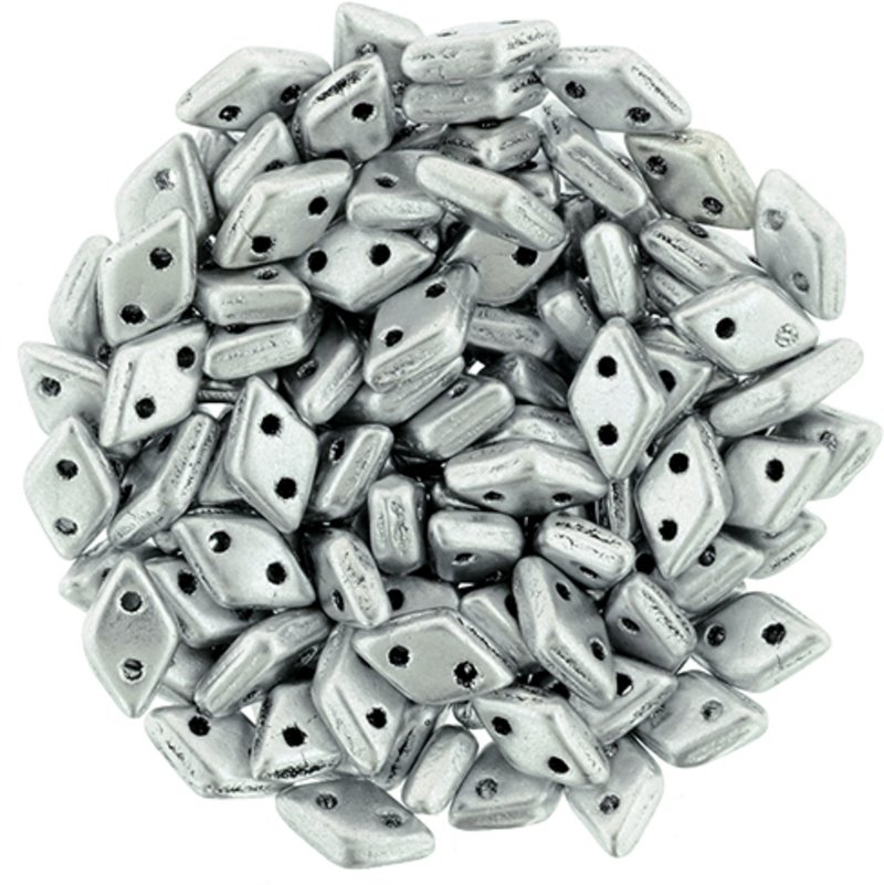 s58295 Glass Beads - Czechmates - 2 Hole Diamonds - Matte Metallic Silver