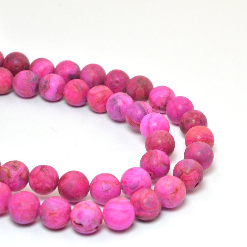 s58703 Stone Beads - 8 mm Round - Matte Pink Crazy Lace Agate (strand)