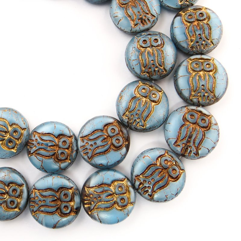 s58715 Glass Beads - 13.5 mm Coin with Owl - Misty Blue (Strand 12)
