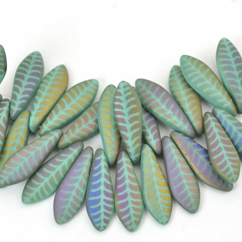 s58721 Glass Daggers - 5 x 16 mm Dagger Beads - Laser Etched - Matte Grey Iris Feather (strand 25)