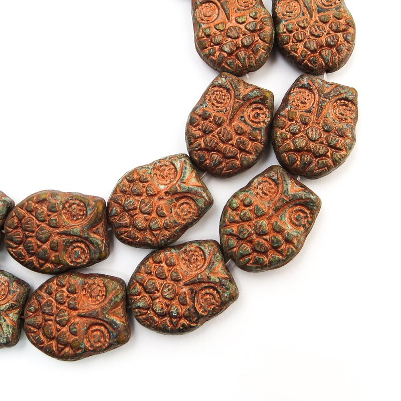 s58726 Glass Beads - Flat Owl - Coppered Metallic Stone (10)