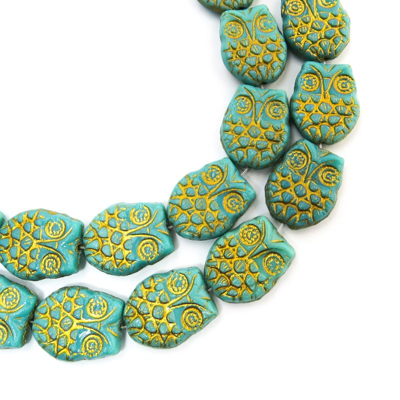 s58727 Glass Beads - Flat Owl - Golden Turquoise (10)